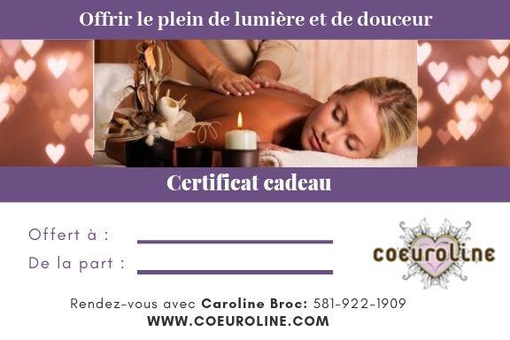 Certificat cadeau coeuroline